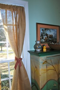 Fabric Tie-Back for Burlap drapes