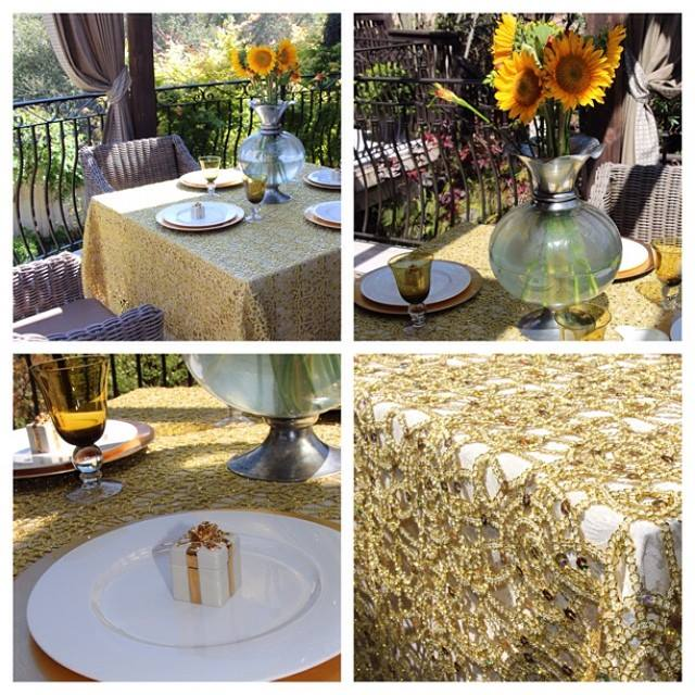 Premier Sequins Gold Table Overlays