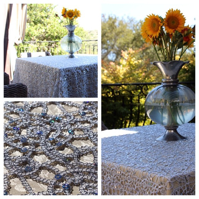 Premier Sequins Silver Table Overlays
