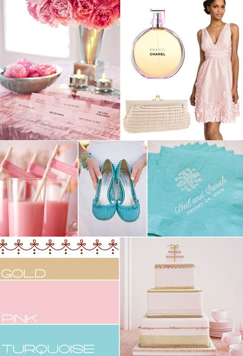 Turquoise, Gold and Blush Pink Theme