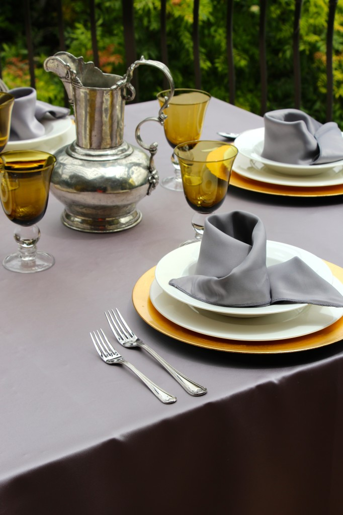 Duchess Pewter Table Linens with Gold Table Accents