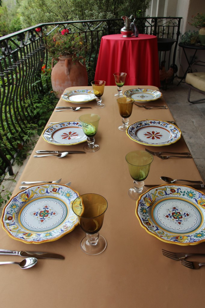 Duchess Victorian Gold and Watermelon Table Linens with Italian Deruta Dinnerware