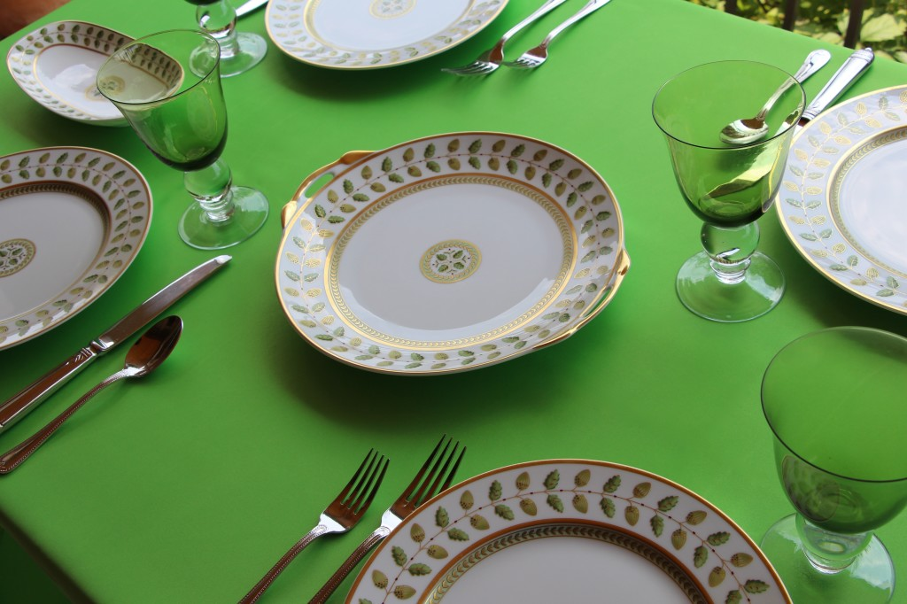 Duchess Apple Table Linens with Bernardaud Constance Limoges