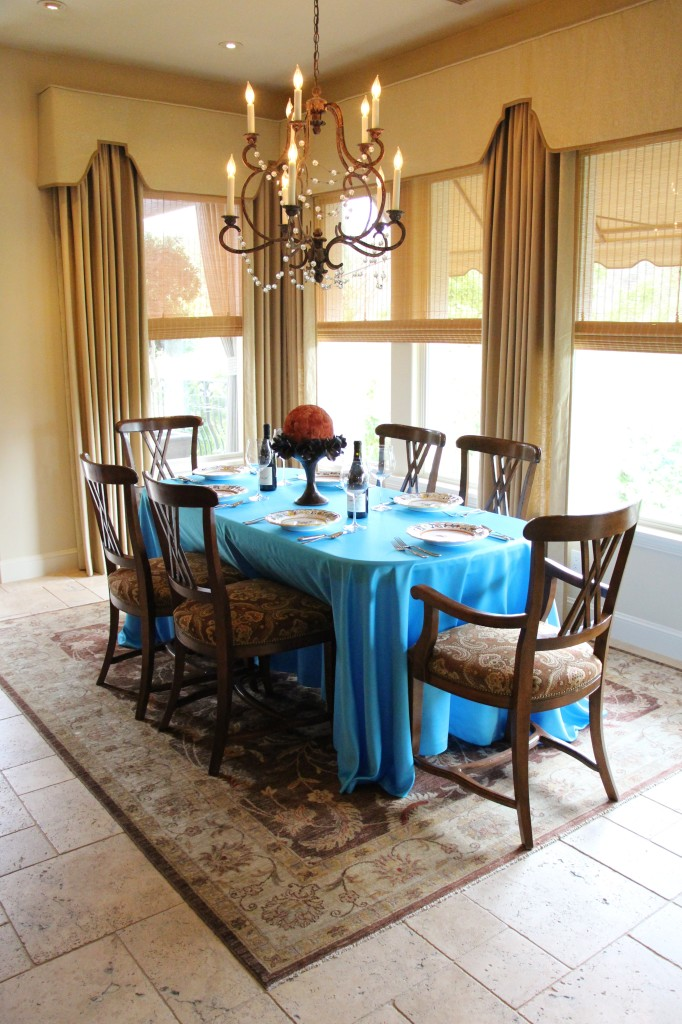 Duchess Turquoise Rectangular Floor Length Table Linen with rounded corners
