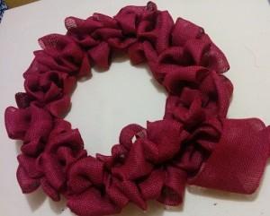 Burlap wrapped wreath