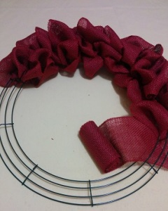Burlap on wire for wreath