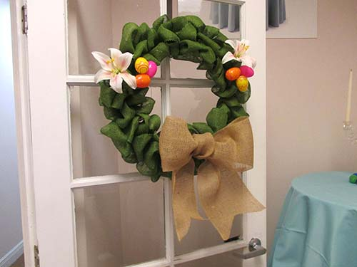 """Spring is in the air"" Burlap Easter Holiday Wreath."