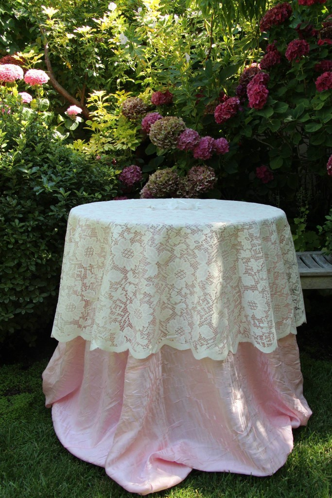 Blush Pink Dazzle Tablecloth with Lace Overlay