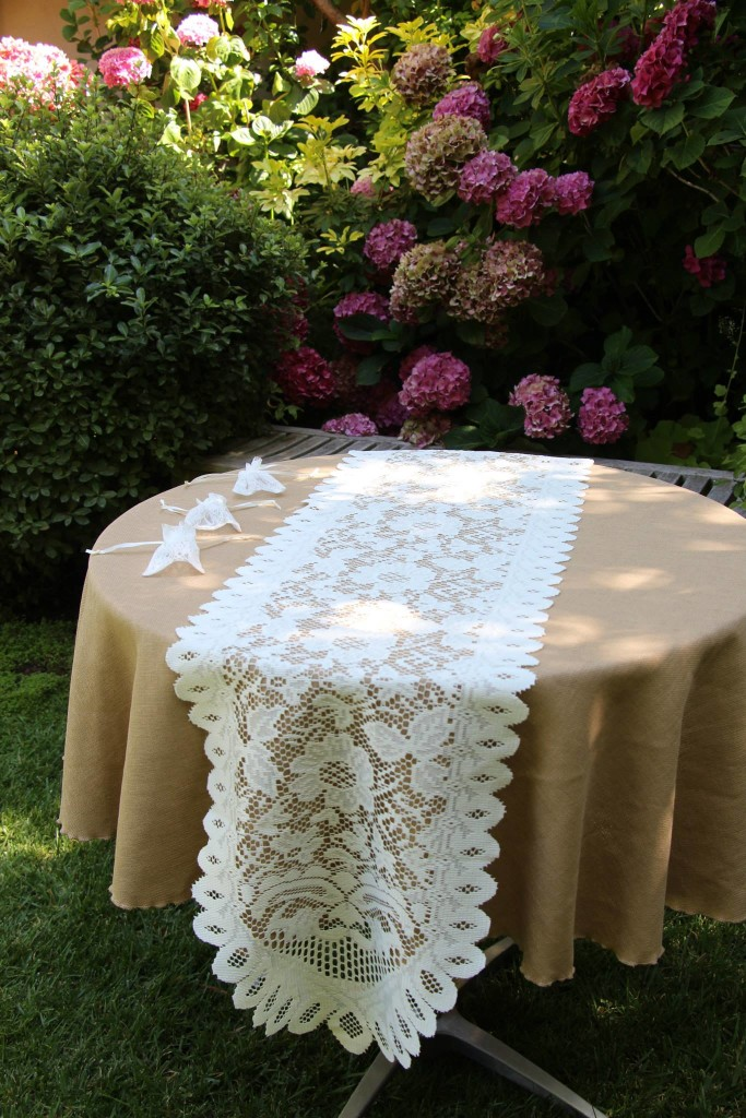 Havana Faux Burlap Natural Tablecloth with Lace Table Runner and Party Favor Bags