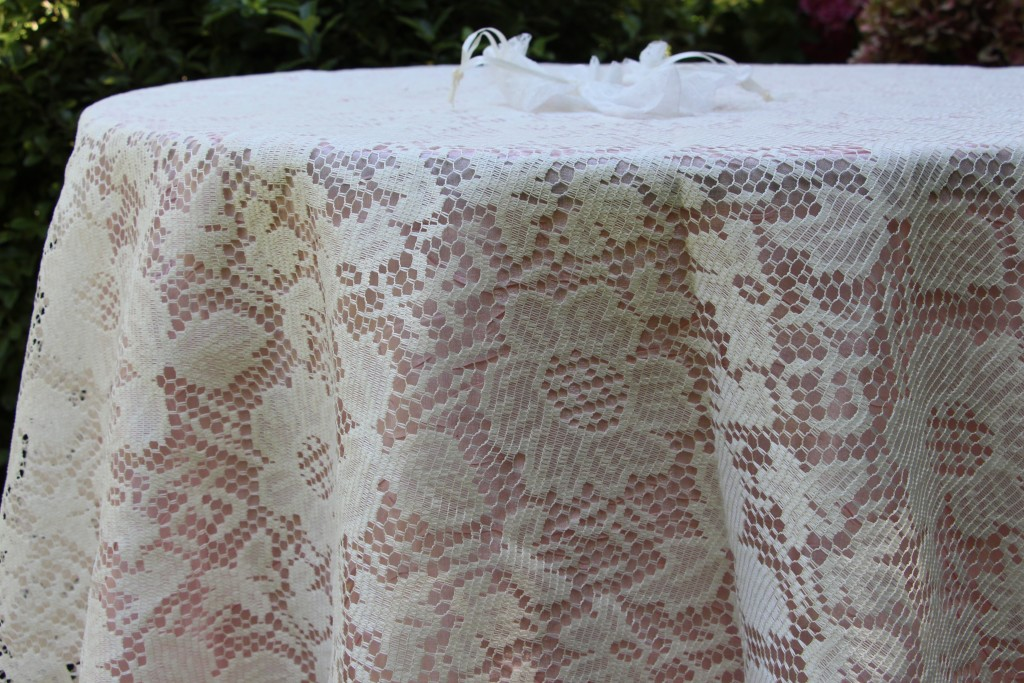 Lace Overlay with Blush Pink Dazzle Tablecloth