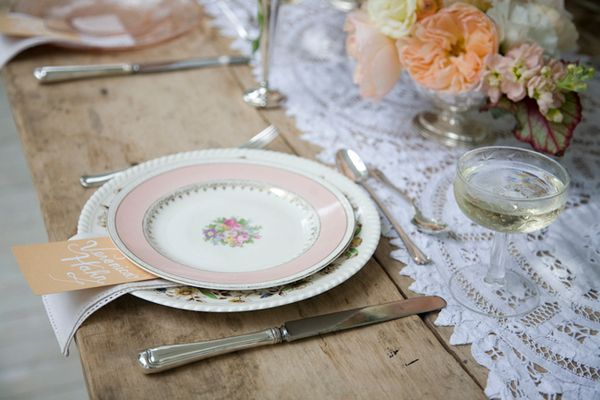 Vintage Lace Table Runner and China