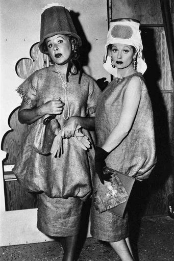 Ethel and Lucy wear what they think are designer dresses in Paris, made of burlap