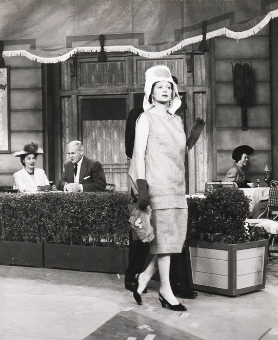 I Love Lucy - Lucy wearing a burlap sack thinking it's hot off the runway.