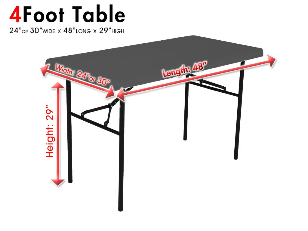 Shown is a picture of a 4 foot table with dimensions.