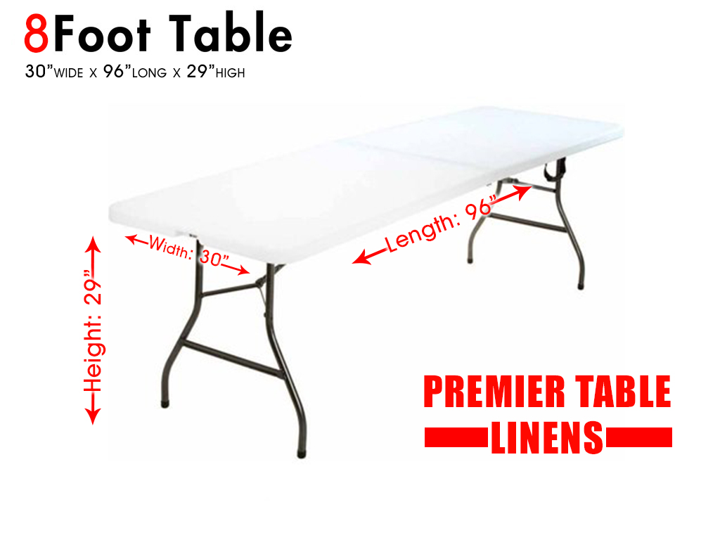 8 foot table measurements