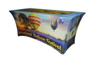 Eight foot logo printed table cloth for trade show and sales kiosk. Branded with hot air balloon theme.